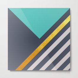 Mint Triangle On Grey With White And Gold Stripes Metal Print