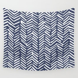 Boho Herringbone Pattern, Navy Blue and White Wall Tapestry