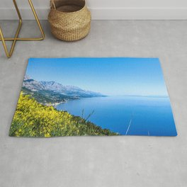 Majestic Royal Blue | Yellow Wildflowers Mountains Beautiful Ocean and Sky Horizon Dreamy Landscape Rug