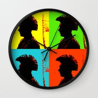 popart Wall Clocks featuring Popart punk by Kathleen Schulze