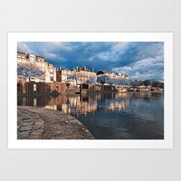 Nantes Riverside Scenery - Winter Blue Fantasy Art Print
