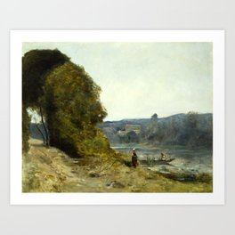 "Jean-Baptiste-Camille Corot ""The Departure of the Boatman"" Art Print"