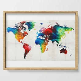 World Map 19 - Colorful Art By Sharon Cumming Serving Tray