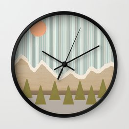 Mountaintops in the Rain Wall Clock