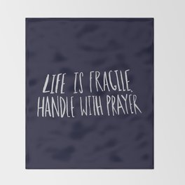 Handle with Prayer x Navy Throw Blanket