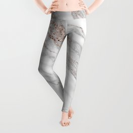 Pink Rose Gold Blush Metallic Glitter Foil on Gray Marble Leggings