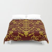 lannister Duvet Covers featuring Stag Damask in Red and Gold by Molly Lee