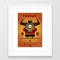 taurus Framed Art Prints featuring TAURUS by Angelo Cerantola