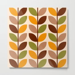 Retro 70s geometric leaves branches brown orange Metal Print