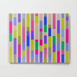 Bright Multi Blocks Pattern Vivid Stripes Geometric Decor Metal Print
