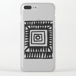 Tribal Print B&W- 02 Clear iPhone Case