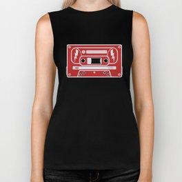 Retro Style Music Cassette in Red Biker Tank