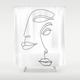 Two Faced Romantic Lovers Illustration Shower Curtain