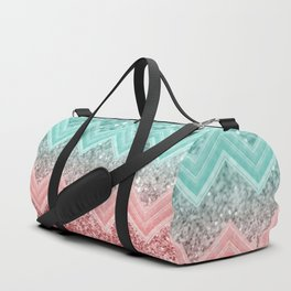Summer Vibes Glitter Chevron #1 #coral #mint #shiny #decor #art #society6 Duffle Bag