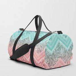 Summer Vibes Glitter Chevron #1 #coral #mint #shiny #decor #art #society6 Duffle Bag