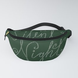 Merry Christmas - Silent Night - Typography and stars  on festive green Fanny Pack