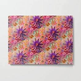 PINK PURPLE PASSION PUNK A FUNKY FLORAL seamless design Metal Print