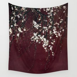 blossoms on ruby red Wall Tapestry
