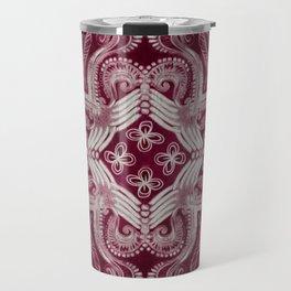 Dark cherry red dirty denim textured boho pattern Travel Mug