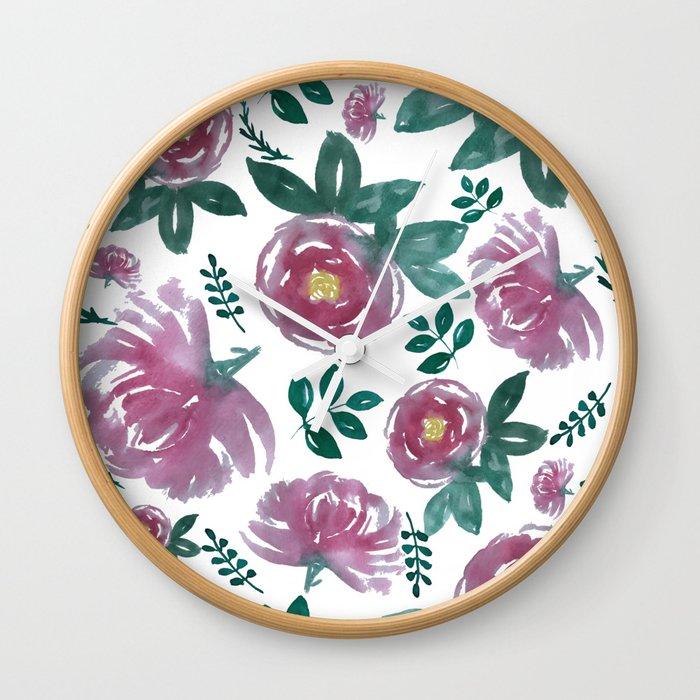 Pink floral watercolors Wall Clock