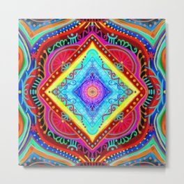losange-geometry-baby art-bright colors-joy and energy-imagination-nursery art-hand painted Metal Print