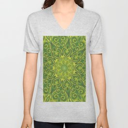 green center swirl mandala Unisex V-Neck