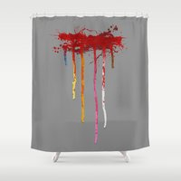 reservoir dogs Shower Curtains featuring Reservoir Dogs Blood Drip by Van Hog Trio