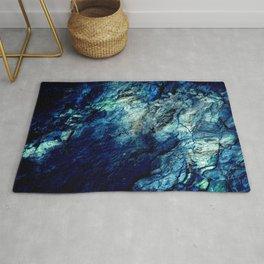 Mineral Texture Dark Teal Ocean Blue Rug