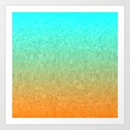 Blue and Orange Ombre Art Print