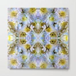 Bue Yellow Pastel Chrysanthemums Design Metal Print