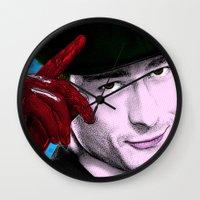 chad wys Wall Clocks featuring Scream Queens - Chad Radwell by Binge Designs Homeware