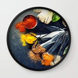 Herbs and spices selection, close up Wall Clock