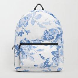 Modern navy blue white watercolor elegant floral Backpack