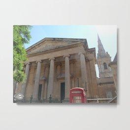 Red telephone box in Malta Metal Print