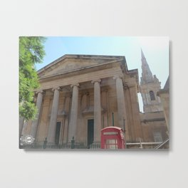 Red telephone box in Malta Metal Print