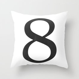 Number 8 (Black) Throw Pillow