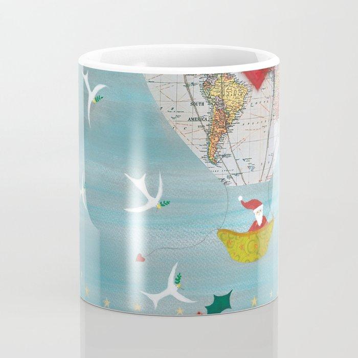 Christmas Santa Claus in a Hot Air Balloon for Peace Coffee Mug