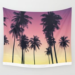 Palmtrees Sunset Wall Tapestry