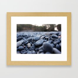 Summertime pebbles in Chios island Framed Art Print