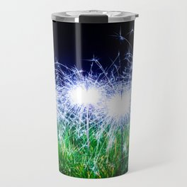 Blue sparklers in the grass Travel Mug