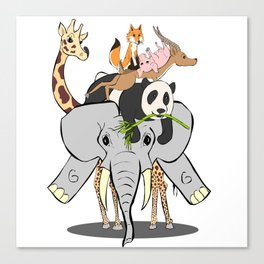 Animal Pile-Up Canvas Print