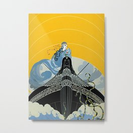 "Art Deco ""The Surprises of the Sea"" Metal Print"