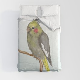 Cute female cockatiel Comforters