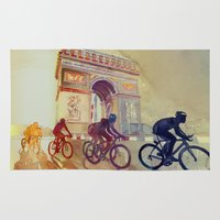 france Area & Throw Rugs featuring Tour de France by takmaj