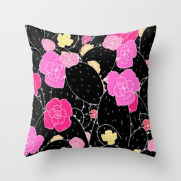 Cactus Flowers (Black and white) Throw Pillow