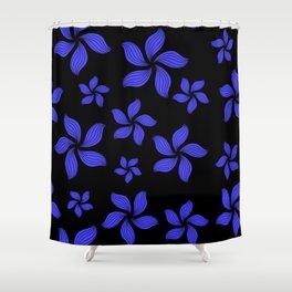 Hawaiian Island Style Violet-Blue Floral Print Shower Curtain