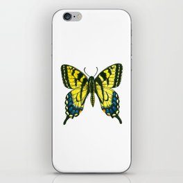 Tiger swallowtail butterfly watercolor and ink iPhone Skin