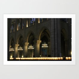 Candlelit Cathedral, Notre-Dame, Paris Art Print
