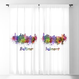 Baltimore skyline in watercolor Blackout Curtain