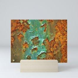 Rust and Deep Aqua Blue Abstract Mini Art Print